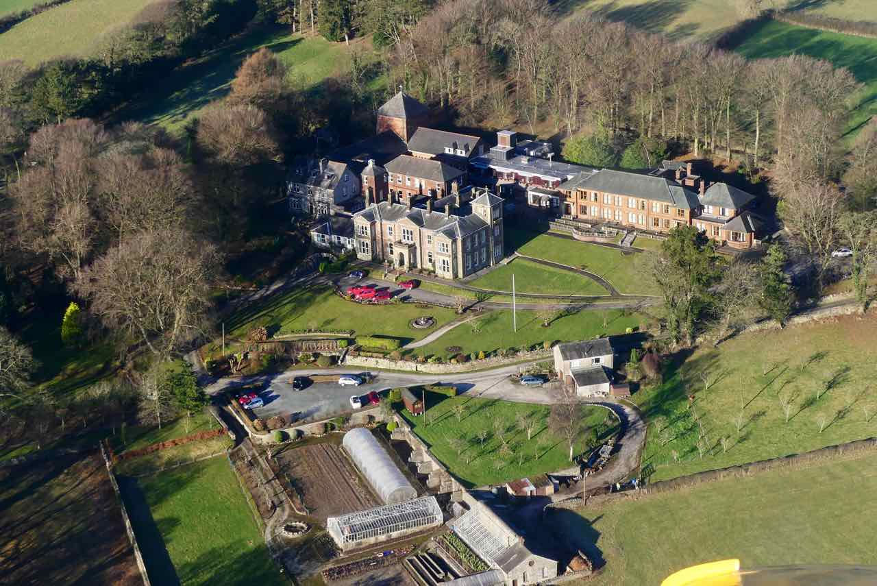 Aerial view of Boarbank Hall